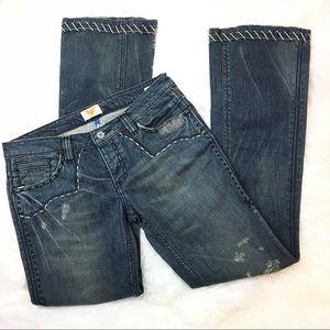 Antik Denim embroidered distressed jeans